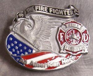 Pewter Belt Buckle Fire Fighter American Hero Series NEW