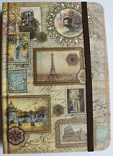 *PUNCH STUDIO Gold Foil Note Book Journal ~PARIS~Eiffel Tower~Rome ~Travel Diary