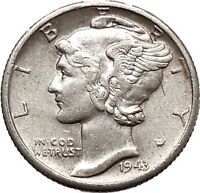 Mercury Winged Liberty Head 1943 Dime United States Silver Coin Fasces i43079