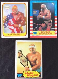 1985 Topps HULK HOGAN Rookie #1 + 1987 Topps Hogan #1  + 1991 Merlin Hogan #110