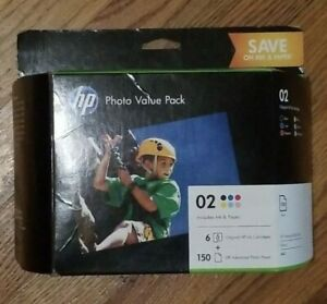 Genuine HP 02 Photo Value Pack With 6 Ink Cartridges & Photo Paper EXP 06/2021