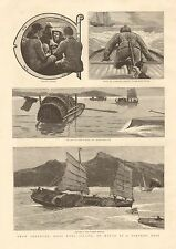 1890 ANTIQUE PRINT- FROM ABERDEEN,HONG KONG TO MACAO IN A TORPEDO BOAT 1