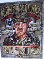 Military Veteran Sign Generations Service Vintage Metal Advertising Tin New USA