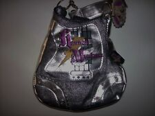 Hannah Montana Purse Handbag Girls Guitar Denim Foil Chain Black NWT