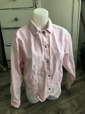 Vintage Mariposa Pretty in Pink Jean Jacket Lace Accent Women's Size S/M