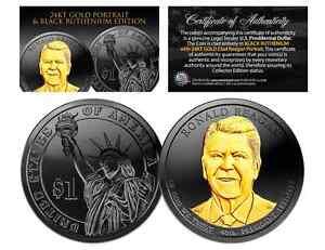 2016-D RONALD REAGAN Presidential $1 US Coin BLACK RUTHENIUM w/ 24K Gold Reagan