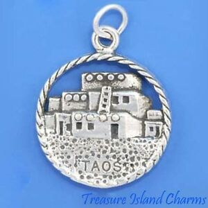 Taos Pueblo Native American New Mexico 925 Solid Sterling Silver Charm Pendant