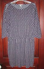 French Connection Size Large Shirt Dress Popover 3/4 Sleeve Elastic Dot Print