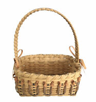 Vintage Woven Wicker Picnic Basket Split Handmade Rectangle With Handle Side Bow
