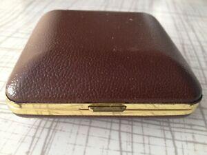 Antique alarm case clock case brown hard case 1960s hinged snap close