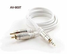 3ft 3.5mm Stereo Plug to 2-RCA Male White Audio Cable, CablesOnline AV-003T