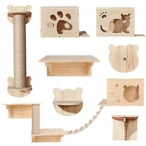 Solid Wood Wall Mounted Cat Shelf Set House Bed Ladder Bridge Scratching Post