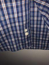 Bill Blass Black Label Button Down Shirt Blue Orange White Plaid Sz S Short