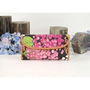 Dooney & Bourke Black Hydrangea Coated Canvas Tan Leather Trifold Wallet NWT