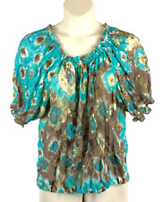 abf585a581136 Womens Peter Nygard Semi-Sheer Blouse Size 14 Elastic Hem Cuff and Neckline