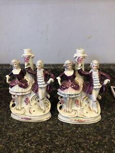 Set Of 2 ANTIQUE GERMAN PORCELAIN Victorian Dancers FIGURINE LAMP BASEes Boudoir