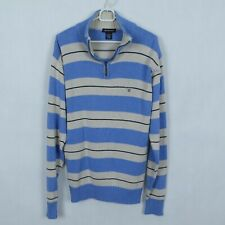GANT Mens Striped Henley Zip Neck Cotton Knit Sweater Jumper SIZE Medium, M