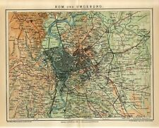 1905 ITALY ROME ROMA CITY and SUBURB Antique Map dated