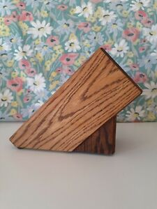 CLEARANCE* Oak Hardwood Knife Block 6 Slots Very Nice Condition QUALITY