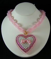 Tarina Tarantino Lucite Chain Pave Heart Necklace PINK