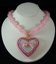 Tarina Tarantino Lucite Chain Pave Heart Necklace PINK