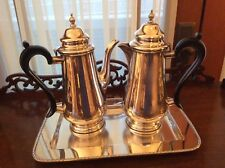 HECWORTH REPRODUCTION OLD SHEFFIELD SILVER PLATE COFFEE & CHOCOLATE POTS + TRAY