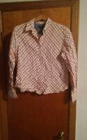 015 Roper XL Button Front Stripe Shirt Long Sleeve Reds Orange