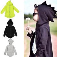 Toddler Kids Dinosaur Zip Hooded Jacket Boys Casual Long Sleeve Coat Outerwear