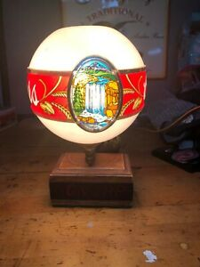 1970s Coors Beer back Bar On Tap Lamp light up Globe sign mountains Waterfalls