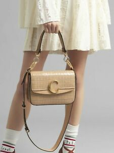 """CHLOE SMALL """"C"""" DOUBLE CARRY BAG IN EMBOSSED CROCO EFFECT ON CALFSKIN"""