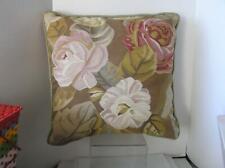 "Lovely 22"" x 22"" Floral Needlepoint Wool Pillow Bolster down filled insert"