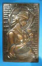 Vintage Girl portrait wall Hanging plaque copper embossed Bas Relief woman 11x18