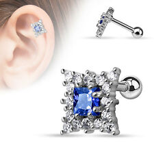 Sapphire blue cartilage tragus 16G barbell Clear CZ square pave ear piercing