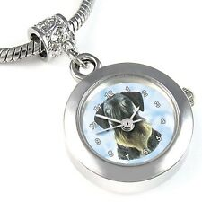 Cesky Terrier Silver Quartz Watch European Spacer Charm Bead For Bracelet EBA69
