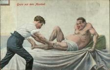 Arthur Thiele Gruss Aus dem Moorbad Germany Spa Massage Man in Pain Postcard