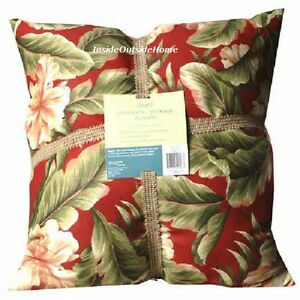 "Mohawk Home Indoor Outdoor Pillow TWO Palm Floral Red LARGE 20x20"" New LAST SET"
