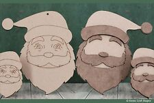 Wooden mdf Santa Claus faces, Father Christmas craft shape, decoration gift tag