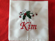 PERSONALISED CHRISTMAS HOLLY SERVIETTES / NAPKINS – MATERIAL