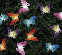 Solar Powered 12LED Butterfly Fiber Optic Fairy String Lights Outdoor Garden