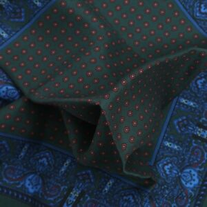 #1 MENSWEAR LNWOT Anonymous Made in England Bottle Green Silk Neat Pocket Square