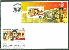 TOGO 2015 100th ANNIVERSARY OF THE RETURN OF MAHATMA GANDHI TO INDIA S/S FDC