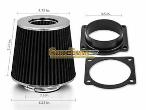 Mass Air Flow Sensor Intake Adapter +BLACK Filter For 00-01 Jaguar S-Type 4.0 V8