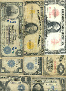Collection of 8 diifferent large size currency types and fancy serial B22222271E