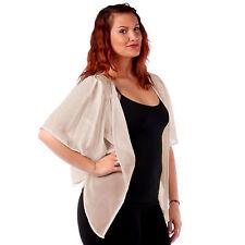 Womens Beige/Sand Chiffon Cardigan Bolero Shrug Yummy Plus Size 3X