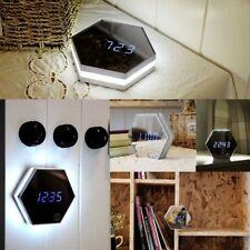 Modern Silver LED Digital Wall Alarm Clock w/Makeup Mirror Touch Night Light