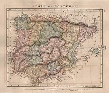 1828 Antico un popolo muore a mano colorato Mappa Spagna e Portogallo