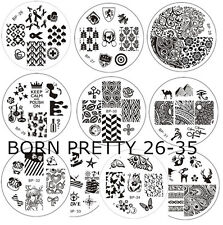 10x Nagel Schablone BORN PRETTY BP26-35 Nail Art Stamp Stamping Template Plates