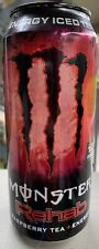 NEW MONSTER REHAB RASPBERRY ICED TEA + ENERGY DRINK 15.5 FL OZ FULL CAN NON CAR