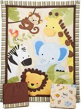 Crib Bedding Set Jungle Buddies Nursery Baby Animals Monkey Lion Brown Yellow