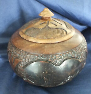 Vintage Hardwood Rhino & Elephant Lidded Bowl